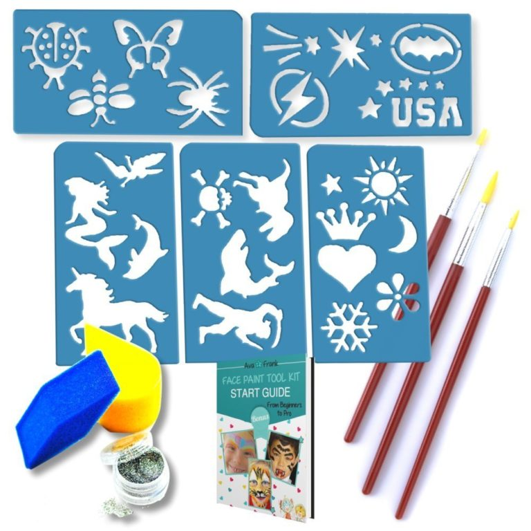 gift ideas for girls - 24 No Mess Foolproof Reusable Face and Body Paint Stencils - No Art Skills Required - for Kids 3 Up