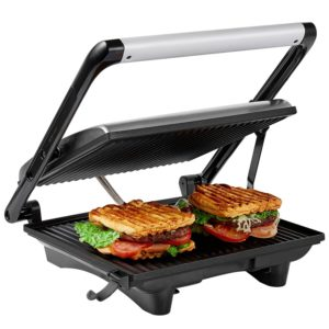 Aicok Panini Press Grill, Sandwich Maker, Panini Maker with Nonstick Plates, Cafe-Style Floating Lid, 1200W, Silver