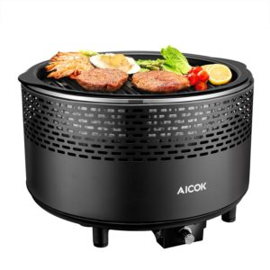Aicok Portable Smokeless Charcoal Grill, BBQ Grill, Compact Barbecue Grill for Backyard, Electric Fan, Travel Bag, Black
