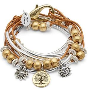 Boho Bracelet Necklace w Gold Tree of Life Charm Trio in Silverplate w Metallic Golden Sun Leather