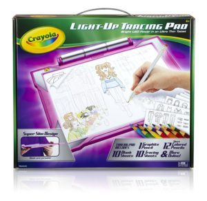 gift ideas for girls - Crayola Light-up Tracing Pad - Pink, Coloring Board for Kids, Tracing Pencil and Sheets, 12 Colored Pencils, Easy Colorin