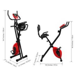 Best Home Gym Equipment - Finether Folding Adjustable Magnetic Upright Exercise Bike Fitness Equipment Work Out Machine with Padded Back and Seat Cushion, PE Foam Wrapped Handle Bars, LCD Monitor and Pulse Sens