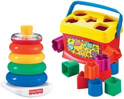 Fisher-Price Rock-a-Stack and Baby's 1st Blocks Bundle Toys for Toddlers