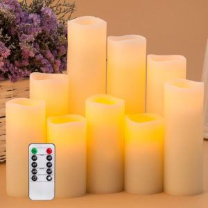 Gift Ideas for Mom Flameless Candles Battery Operated LED Pillar Real Wax Flickering Electric Unscented Candles with Remote Control