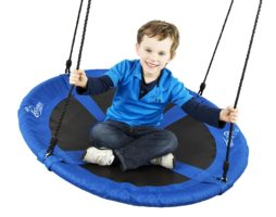 "Flying Squirrel Giant Rope Swing - 40"" Saucer Tree Swing - Blue - Great Outdoor Toys for Kids"