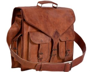 KPL 18 Inch Rustic Vintage Leather Messenger Bag Laptop Bag Briefcase Satchel bag - Best Gift Ideas for Women