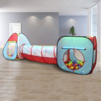 Kiddey Children's Dual Play Tent with Tunnel (3-Piece Set) – Indoor-Outdoor Playhouse for Boys and Girls – Lightweight, Easy to Setup - Best Outdoor Toys for Kids