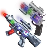 LED Light Up Toy Gun Set by Art Creativity - Super Ray Gun Blasters with Colorful Flashing LEDs & Sound - Cool Play Toys for Boys and G