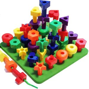 Lacing Shapes and Colors Pegboard Building Puzzle Set with Pattern Card, Bonus Travel Backpack