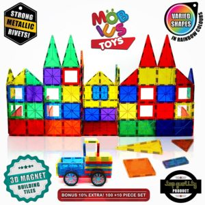Magnetic Building Blocks, 3D Magnet Building Toys Set, Educational Construction Magnetic for Kids, Strong Metallic Rivets