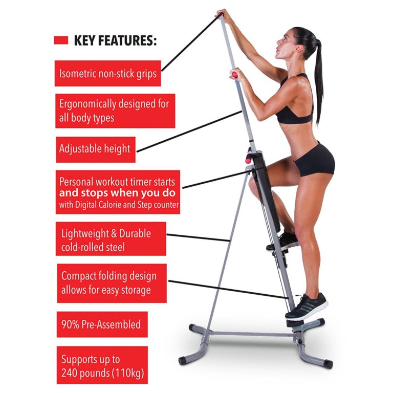 MaxiClimber - The original patented Vertical Climber, Full Body Workout with BONUS Fitness App for Apple and Android