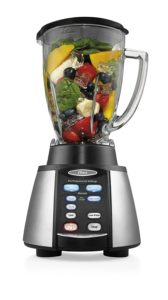 Oster Reverse Crush Counterforms Blender, with 6-Cup Glass Jar, 7-Speed Settings and Brushed Stainless Steel Black Finish