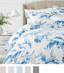 Gift Ideas for Mom - Pinzon Signature 190-Gram Cotton Heavyweight Velvet Flannel Duvet Set - Full-Queen, Floral Smoky Blue
