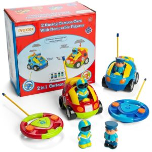 Prextex Pack of 2 Cartoon RC Police Car and Race Car Radio Control Toys for Kids For Christmas