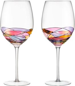 Red Wine Glasses Set of 2 Hand Painted Designed with Strong Presence by DAQQ, Inspired , Unique Gift for Wine Enthusiast