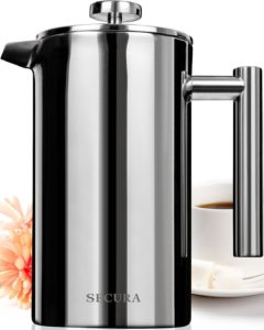 Secura Stainless Steel French Press Coffee Maker 18-10 Bonus Stainless Steel Screen (1000ML)