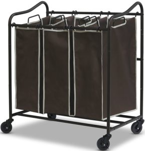 SimpleHouseware Heavy-Duty 3-Bag Laundry Sorter Cart, All Bronze