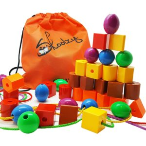new toys for girls - Skoolzy JUMBO PRIMARY STRINGING BEAD SET with 36 Lacing Beads for Toddlers and Babies, 4 Strings, Tote, Busy Bag Ideas Guide