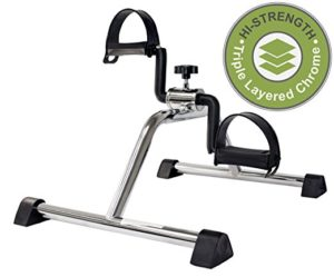 Gifts for workout lovers - Vaunn Medical Pedal Exerciser Chrome Frame (Fully Assembled Exercise Peddler, no tools required)