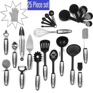 25 Piece Kitchen Tools Set Stainless Steel and Nylon Utensils