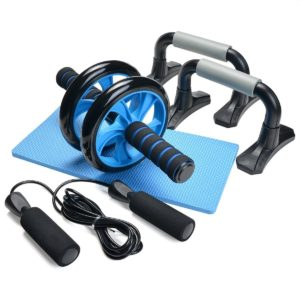 Gifts for fitness lovers - 3-In-1 AB Wheel Roller Kit - Odoland AB Roller Pro with Push-Up Bar, Jump Rope and Knee Pad - Perfect Abdominal Core Carver Fitness Workout for Abs - with Workout Guide