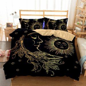 3d bedding set sun and moon bedding print twin full queen king bedclothes duvet cover set bedlinen (Twin, sun)