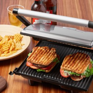 Aicok Panini Press Grill, Sandwich Maker, Panini Maker with Nonstick Plates, Cafe-Style Floating Lid, 1200W, Silver - Best Gift Ideas for Men