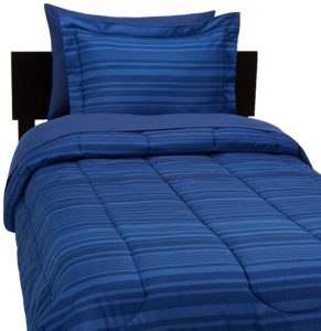 AmazonBasics 5-Piece Bed-In-A-Bag - Twin-Twin Extra Long, Blue Calvin Stripe