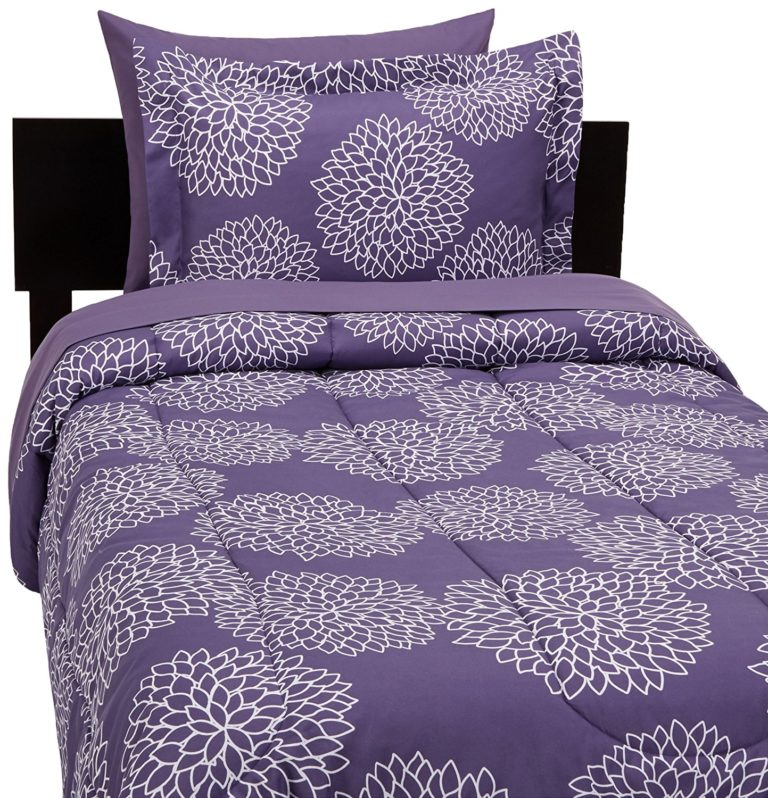 AmazonBasics 5-Piece Bed-In-A-Bag - Twin-Twin Extra Long, Purple Floral