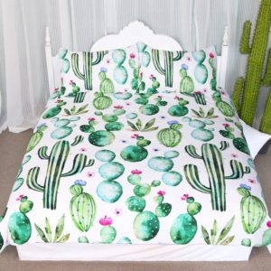 Arightex Green Cactus Pattern Bedding Sets Watercolor Cactus Collection Duvet Cover 3 Pieces Tropical Plant Bedspread Hand Painted Design Home Decor (Twin)