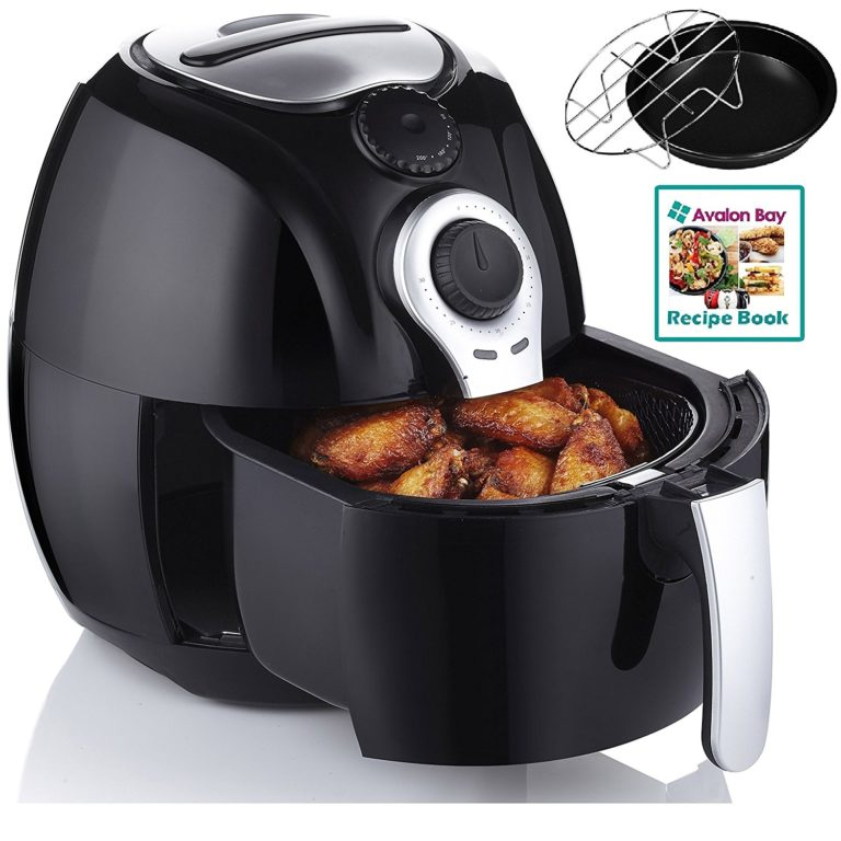 Avalon Bay Air Fryer, For Healthy Fried Food, 3.7 Quart Capacity, Includes Airfryer Baking Set and Recipe Book, AB-Airfr