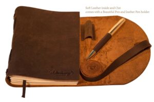 BEST LEATHER JOURNAL GIFT SET - for women men - UNIQUE SOFT ROLL UP vintage LUXURY medium UNLINED 7 x 5 notebook