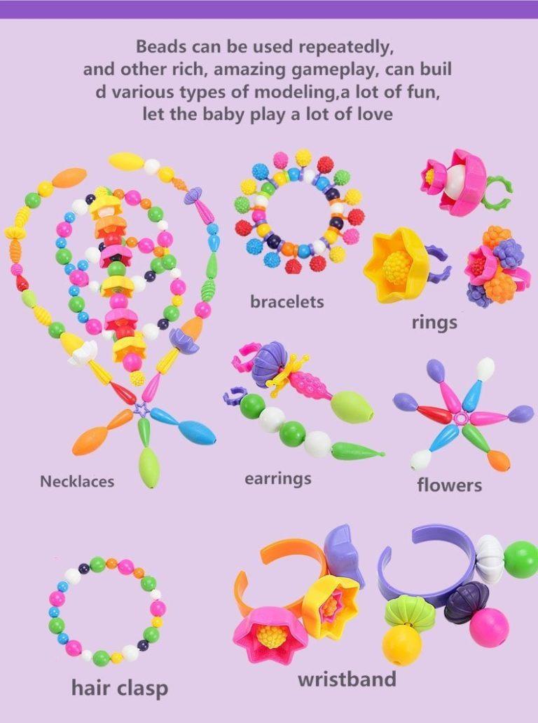 BIBNice Pop Beads Set DIY Jewelry Kit for Girls Necklace and Bracelet(350PCS)