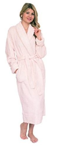Bath & Robes Women's Chenille Robe With Shawl Champagne Cream