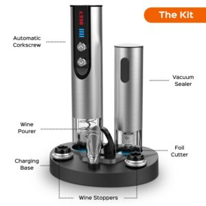 Brewberry Stainless Steel Electric Wine Bottle Opener with Foil Cutter, Charging Stand, LED Temperature Display