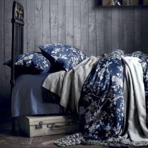 Good Gift Ideas for Mom - Eastern Floral Chinoiserie Blossom Print Duvet Quilt Cover Navy Blue Tan White Asian Style Botanical