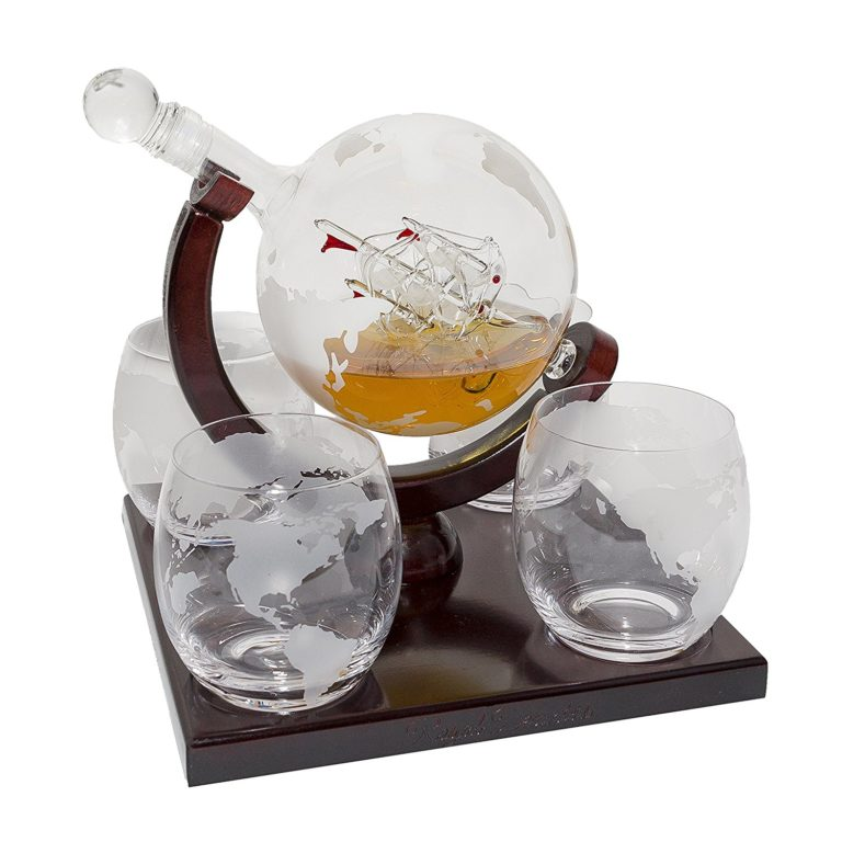 Etched Globe Whiskey Decanter Set - 4 Glasses & Large Glass Beverage Drink Dispenser -Gifts for Dad (850ML)