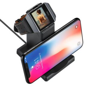 Gifts for fitness lovers - GOSETH for Fitbit Ionic Charger, Fitbit Ionic Replacement Charger Charging Dock Station Cradle Holder for Fitbit Ionic Smart Watch with Stand for Phone or Table(Not Work With The Protective Case)