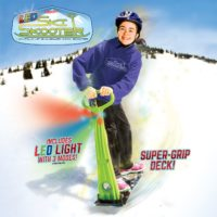 GeoSpace Original LED Ski Skooter Fold-up Snowboard Kick-Scooter for Use on Snow and Grass, Assorted Colors