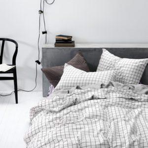 Grid Duvet Cover Set, 100% Cotton Bedding, Black Grid Geometric Modern Pattern Printed on White, with Zipper Closure (3pcs, Twin Size)