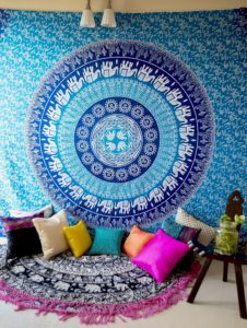 Hippie Elephant Mandala Tapestry Wall Hanging, Blue Bohemian Art , College Dorm Room Accessories Boho Bed Cover