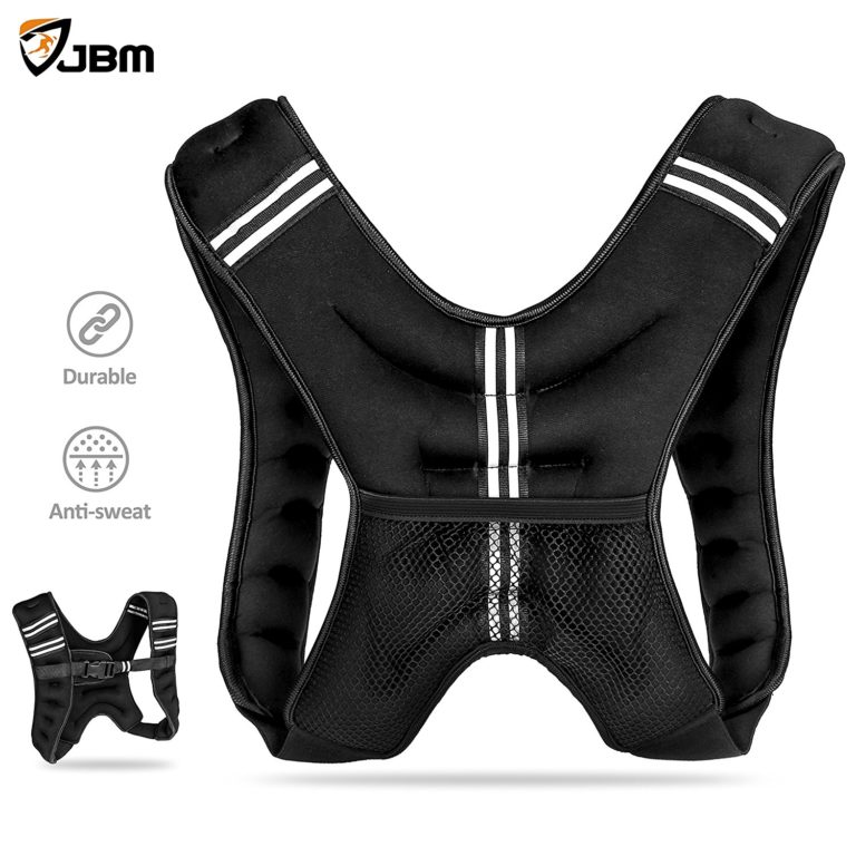 JBM Weighted Vest 12lbs Weight Vest Neoprene Quality Sand Filling Soft for Workout Crossfit Fitness Strength Training Gym Walking Running Cardio Weight Loss Muscle Building - One Size Fit Most Black