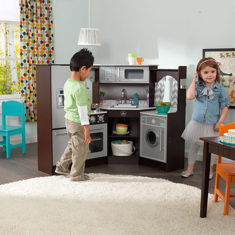 kitchen toys for girls - KidKraft Ultimate Corner Play Kitchen with Lights & Sounds, Brown-White
