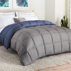LINENSPA All-Season Reversible Down Alternative Quilted Comforter - Corner Duvet Tabs - Hypoallergenic - Plush Microfiber Fill - Box Stitched - Machine Washable - Graphite - Twin
