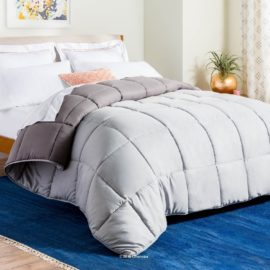 LINENSPA All-Season Reversible Down Alternative Quilted Comforter - Corner Duvet Tabs - Hypoallergenic - Plush Microfiber Fill - Box Stitched - Machine Washable - Stone - Charcoal