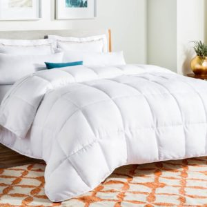 LINENSPA All-Season White Down Alternative Quilted Comforter - Corner Duvet Tabs - Hypoallergenic - Plush Microfiber Fill - Machine Washable - Duvet Insert or Stand-Alone Comforter