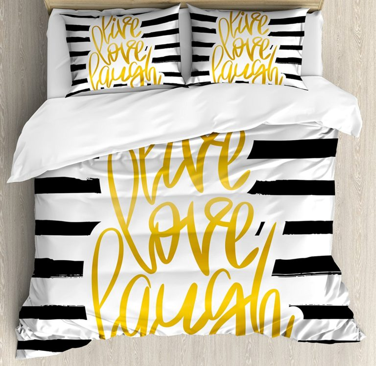 Best Dorm Bedding Sets - Live Laugh Love Duvet Cover Set Twin Size by Ambesonne, Romantic Poster Design with Hand Drawn Stripes and Calligraphy