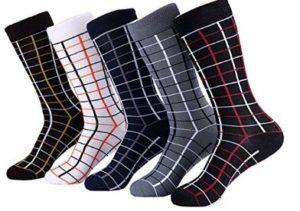 Marino Mens Patterned Dress Socks, Fashion Cotton Socks - 5 Pack