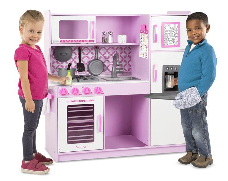 kitchen toys for girls - Melissa & Doug Chef's Kitchen Pretend Play Set - Cupcake Pink White