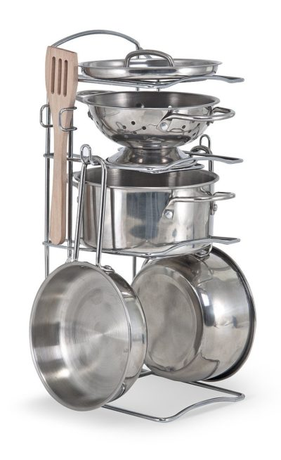 cooking toys for girls - Melissa & Doug Stainless Steel Pots and Pans Pretend Play Kitchen Set for Kids (8 pcs)